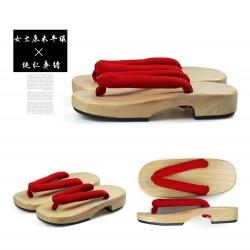 Japanische Holzschuhe zweizähnigen Kimono Trotteurschuh Sandalen hell braun Holz Heels Damen Cosplay Geta