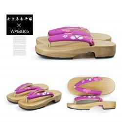 Japanische Holzschuhe zweizähnigen Kimono Trotteurschuh Floral Riemen hell braun Holz Heels Damen Cosplay Geta
