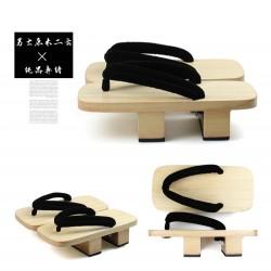 Japanische Holzschuhe zweizähnigen Clogs Kimono hell braun Heels Highheels Herren Cosplay Geta
