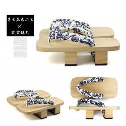 Japanische Holzschuhe zweizähnigen Clogs Floral Riemen Kimono hell braun Heels Highheels Herren Cosplay Geta