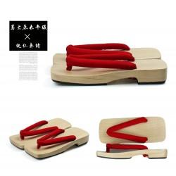 Japanische Holzschuhe Kimono Trotteurschuh Sandalen hell braun Heels Herren Cosplay Geta