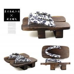 Japanische Holzschuhe zweizähnigen Clogs Kimono Floral Riemen dunkel braun Heels Highheels Herren Cosplay Geta