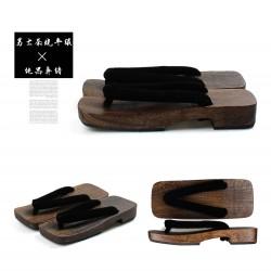 Japanische Holzschuhe Kimono Trotteurschuh Sandalen dunkel braun Heels Herren Cosplay Geta