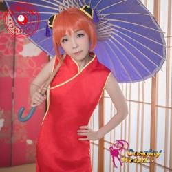GINTAMA Kagura Aufrechtzuerhalten Kostüm Kimono Bathrobe Frau rote chinesische Kleidung Cosplay Anime