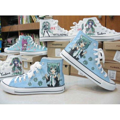 Vocaloid Miku handbemalte Sneakers, Sneaker high