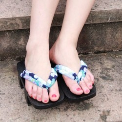 Japanische Geta Schuhe Holzschuhe zweizähnigen Clogs Zori Tabi Kimono Heels orange Muster Highheels Damen Cosplay Geta