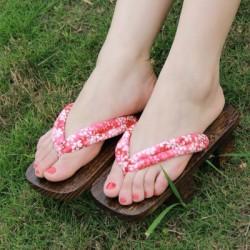 Japanische Geta Schuhe Holzschuhe zweizähnigen Clogs Zori Kimono Heels rote Blumenblätter Highheels Damen Cosplay Geta