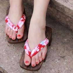 Japanische Geta Schuhe Holzschuhe zweizähnigen Clogs Zori Tabi Kimono Heels rote Muster Highheels Damen Cosplay Geta