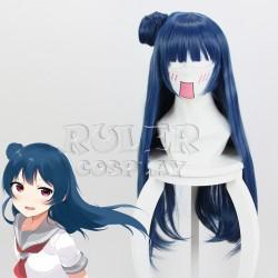 LoveLive! Sunshine! Tsushima Yoshiko gemischte Blau lang glattes Haar Cosplay Perücke