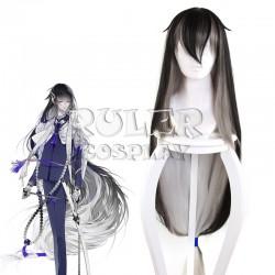 Touken Ranbu Online Juuzumaru Tsunetsugu Schwarz Grau Weiße 130cm lang glattes Haar Cosplay Perücke