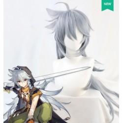 Anime Genshinレザー(原神) Razor Cosplay graue Perücke 90cm