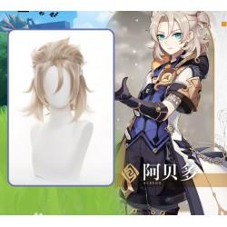 Anime Genshin Impact Albedo Cosplay golde kurze Perücke wig 35cm