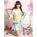3-teilig Kimono Geisha Yukata Kostüm Kleid Mini Rock