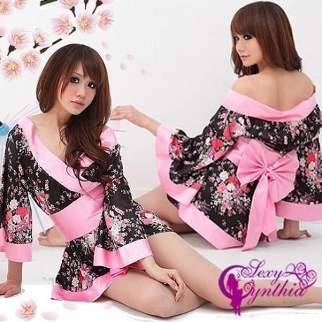 3 teilig kimono geisha yukata kostum kleid mini rock