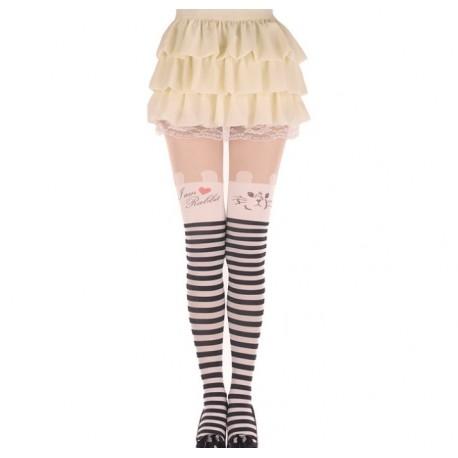tattoo leggings strumpfhose mit haschen bunny motiven strumpfe