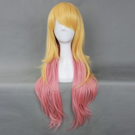 japan harajuku serie gelbe und rosa lockige perucke