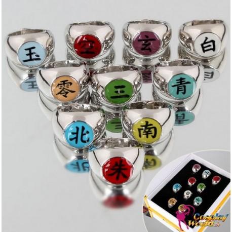 10 pcs naruto cosplay ring akatsuki members itachi uchiha ring set