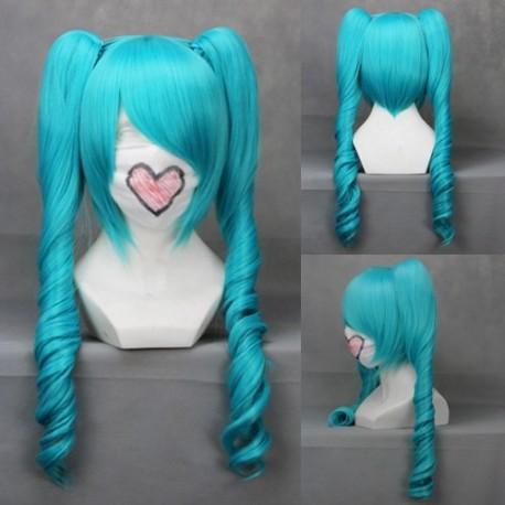 vocaloid miku blaue locken cosplay perucke