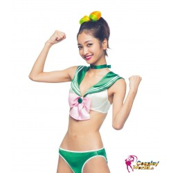 sailor moon jupiter cosplay kostum grun sexy bikini uniform