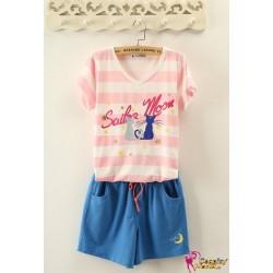 sailor moon 20 jahre jubilaum schlafanzug kleid shorts 2er set rosa blau