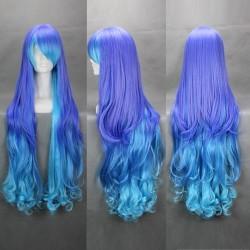 vocaloid megurine luka 90cm blaue gewellte cosplay perucke