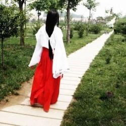 Inuyasha Kikyo Kimono Kostüm Kikyou Kleid 4-Teilig