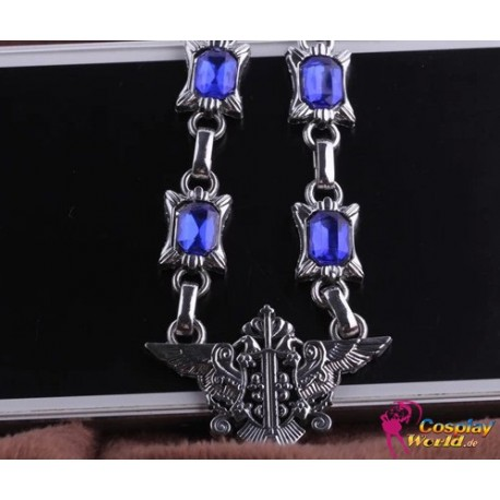 black butler double eagle abzeichen blaue saphir diamant halskette cosplay accessoire