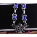 Black Butler Double Eagle Abzeichen Blaue Saphir Diamant Halskette Cosplay Accessoire2er Set