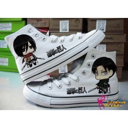 Attack on Titan Levi, Mikasa handbemalte Sneakers