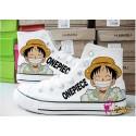One Piece Monkey D. Luffy handbemalte Sneakers, Sneaker high