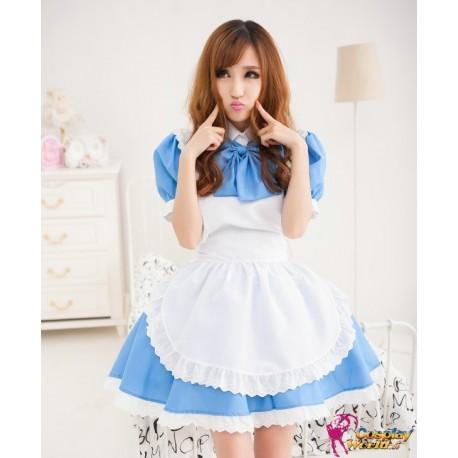 cosplay dienstmadchen kostume maid kawaii blauen rock
