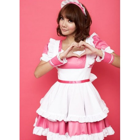 akihabara maid cosplay lolita pink maid costume cut and kawaii