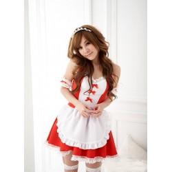 Sexy Rote Meido Maid Cosplay Hausmädchen Kostüm lolita Kleid
