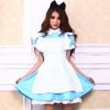 Dienstmädchen Kostüme Alice in Wonderland Cosplay Maid Kleid m.Stirnband