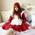 Lolita Dress Dienstmädchen Kostüme Maid Kleid Prinzessin Dunkelrot