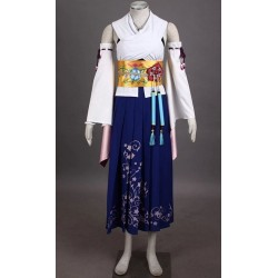 Final Fantasy Yuna Cosplay Kostüme, Kimono Bühnenoutfits auf Maß