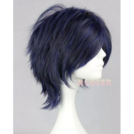 D.Gray-man Cosplay Perücke Road Kamelot schwarze, blaue Anime Perücke