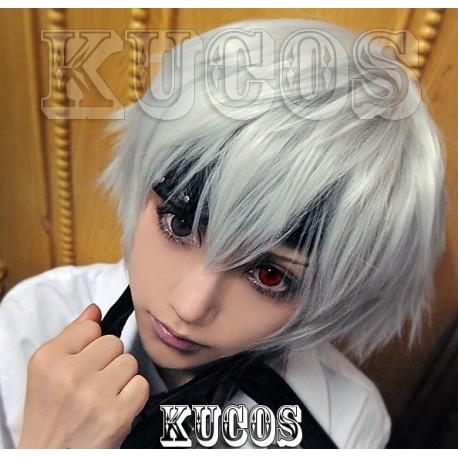 Tokyo Ghoul Kaneki Ken silberne graue Cosplay Perücke