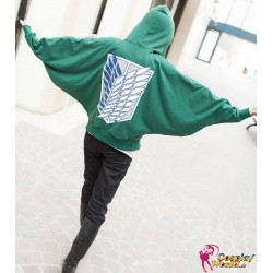 Grüne Hoodie Kapuze Shingeki no Kyojin Anime Manga Attack on Titan cosplay Kostüme Fledermaus Shirt