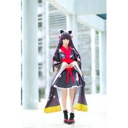 BLACK CAT Kimono Yukata Furisode Geisha Morgenmantel Cosplay Kostüme