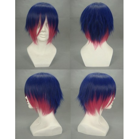 panty and stocking with garterbelt stocking dark bluered cosplay wig