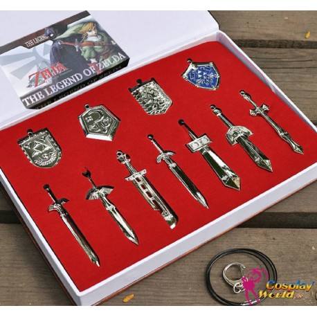 11 Stück Anhänger Halskette the Legend of Zelda Cosplay Accessoire Set