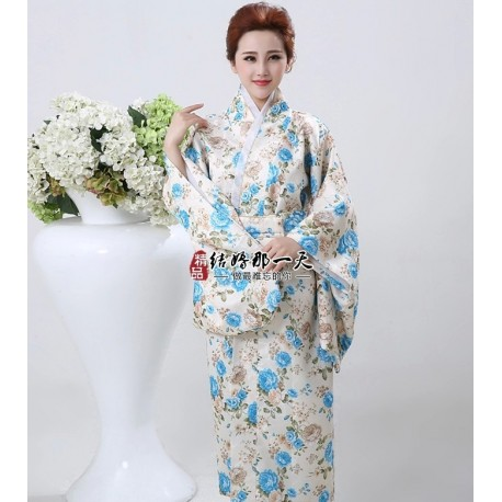 Kimono Yukata Furisode Geisha Bademantel Satin Kimono