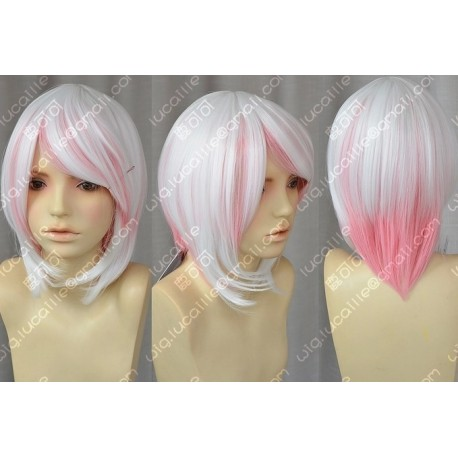 Lucaille® Vocaloid Perücke Cospaly Hatsune Miku weiße rosa Perücke