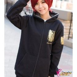 Schwarzes Winter Hoodie Kapuze Survey Corp Shingeki no Kyojin Attack on Titan Cosplay Kostüme