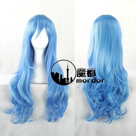 Date A Live Yoshino Hermit aqua blaue Cosplay 70cm Perücke Wig Lockenhaar