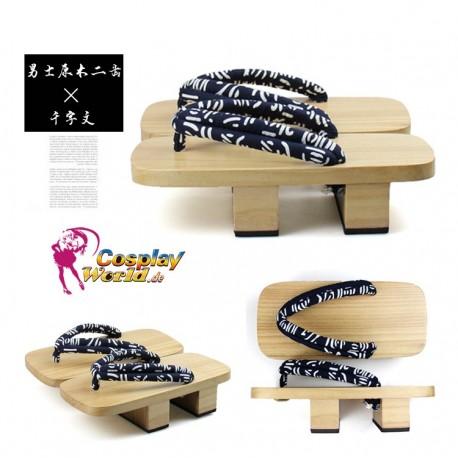 Japanische Geta Zori Shiraki Geta Tausend-Zeichen-Klassiker Motiv figural Riemen Kimono Cosplay Herren Geta