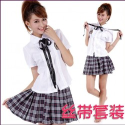 Süß japanische Schuluniform,School Girl Uniform Cosplay kariert Rock