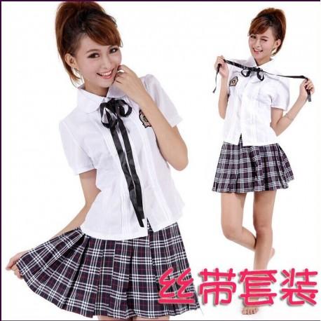 Süß japanische Schuluniform,School Girl Uniform Cosplay kariert Rock